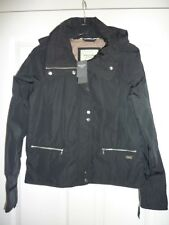 ABERCROMBIE & FITCH Black Rain and Wind Resistant Hooded Jacket Size XS NWT
