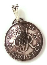 UK England Lucky Sixpence Wedding Jewelry,British Coin Pendant,Bridal Jewelry