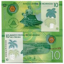 Nicaragua 2014 (2015) P208 Polymer 10 Cordobas Banknote Money UNC x 5 Notes Lot