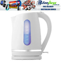 Electric Kettle White and Silver Cordless 1.7L Fast Boil Jug with LED Light