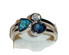 🎄✨Drei Steine Ring, 925er Sterlingsilber, gestempelt, Größe 19,1 = 60