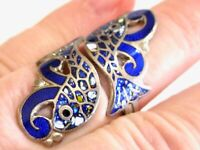 VINTAGE ENAMEL ON STERLING SILVER DOUBLE FISH BYPASS RING 925 MEXICO EAGLE 15