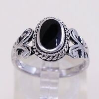 Sz 7, Vtg Sterling Silver Handmade Ring, 925 Band W/ Oval obsidian N Beads