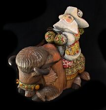 Russian Santa Ded Moroz riding a BISON Hand Carved & Painted #0978