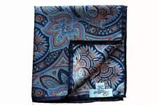 Battisti Pocket Square Navy with sky/orange/brown floral paisley, pure silk