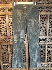 Cache Luxe Animal Print Straight Jeans with Gold detailing size 10/ 12