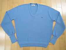 SUPER SOFT!! 80s vtg BABY BLUE LACOSTE v neck ACRYLIC SWEATER XL