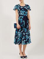 New Jacques Vert dress 16 Chiffon Star flower Navy Blue Fit & Flare Flute sleeve