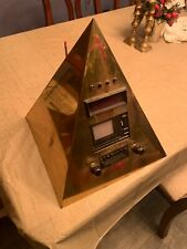 RARE Brass Pyramid TV Clock Radio Space Age One Of A Kind Rabbit Ears