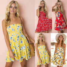 UK Womens Strapless Floral Boobtube Sundress Ladies Beach Short Mini Swing Dress