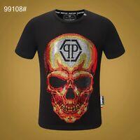 PHILIPP PLEIN Black Skull Beading Men Casual T-shirt P99108# Size M-3XL
