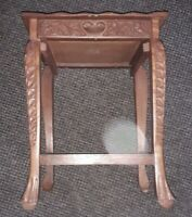 Small Vintage Handcarved Wooden Occasional Side Table with Drawer from India