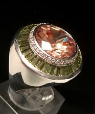 GORGEOUS Citrine Peridot And CZ Rhodium Plated Ring Size 6 3/4  TCW18Grams
