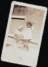 Vintage Antique Photograph Two Adorable Little Girls Wearing Really Cute Outfits