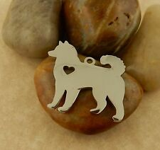Engraveable Stainless Steel Akita Dog Pendant with heart