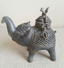 Antique Indian Cast Brass Elephant Incense Burn