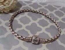 Pandora Authentic Champagne Ivory Leather Single Cord Charm Bracelet 7.5 Rare