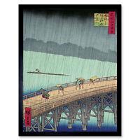 Utagawa Hiroshige Shower Shin Ohashi Bridge Wall Art Print Framed 12x16