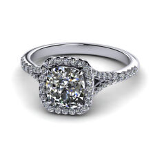 0.90 Ct Cushion Cut Genuine Diamond Engagement Ring 950 Platinum Size L M
