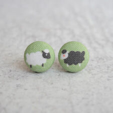 Black and White Sheep Fabric Button Earrings