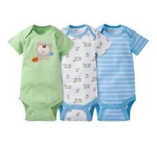 Gerber Baby Boy 3-Pk Blue/Green Bears Onesies Size 3-9M; Baby Clothes Gift