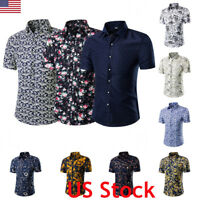 Men's Hawaiian Shirt Summer Stag Floral Printed Beach Holiday Shorts Sleeve Tops