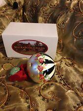 Nib MacKenzie-Childs Marble Wintergreen Flower Glass Christmas tree Ornament