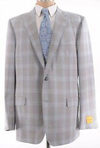 Hickey Freeman NWT Sport Coat Sz 44R Light Gray Blue Plaid Wool Beacon $1,295