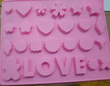 26-cavity Love Flower Heart Cake Mold Flexible Silicone Choclate Mold Soap Mold