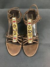 APOSTROPHE Womens Brown Reggae jeweled slip on heels  size 8