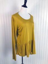 Anthropologie T.La Mustard Yellow Long Sleeve Peplum Top Size XL