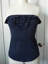 Hollister Babydoll Ruffle Tube Top Navy XS NWT Clinched Waist ONE LEFT!