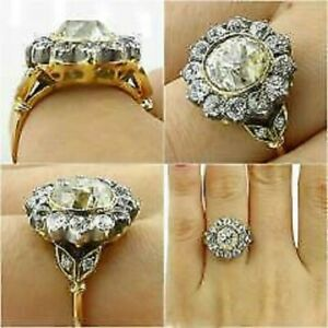 4.20CT Antique Round-Cut Diamond Cluster Engagement Ring Yellow Gold Finish