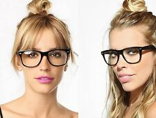 BIG Oversized Geek Style Clear Lenses Glasses Black Gloss Frames Ladies Mens New