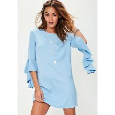 Missguided blue ruffle sleeve shift dress size 12 BNWT