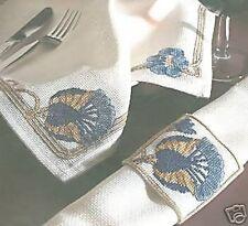 Art Nouveau Lotus Napkin and Napkin Ring Cross Stitch Kit DMC 14 Count