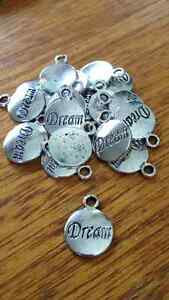 Tibetan Silver 'DREAM' Charm / Pendant x 15