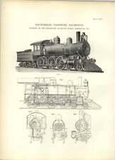 1893 Schenectady Locomotive 10 roues passager New York dessins