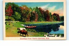Lot of 2 Linen Postcards Greetings from Troy Center WI Wisconsin Cows Boat