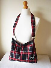Tartan Slouchy Messenger Bag Black Stewart cross body Bag Shoulder bag