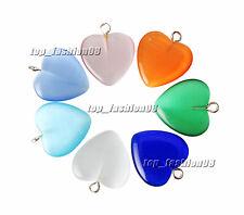 FREE Wholesale 10pcs Heart Cat Eye Gemstone Loose Beads Pendant Silver P Hook