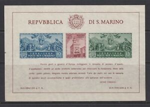 San Marino ~ 1945 Gov't Palace, Souv. Sht. Imperf  Sc# 239  **/NH  cv$115 (ar08)