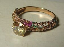Russian 585,14k Solid Rose Gold Moissanite Ruby Emerald Sapphires Ring