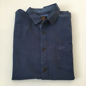 Mooks Short Sleeve Button Up Shirt Size M Blue with Pocket