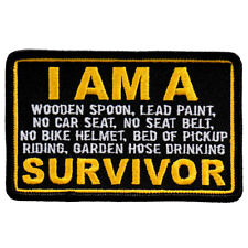 "I Am A Survivor Biker Cut Patch 4"" x 2 1/2"" Patch"