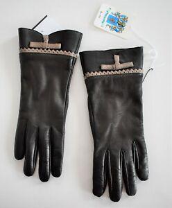$100 New PORTOLANO Dark Brown GENUINE LEATHER CASHMERE Blend Lined Gloves 7