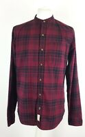 Hollister Mens Red Navy Check Grandad Collar Long Sleeve Shirt Size L Stretch