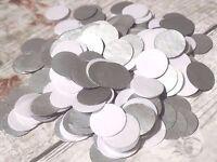 1000 Handmade Tissue Paper Circle Confetti Metallic Silver White Wedding