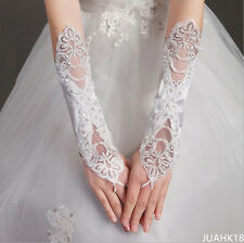 New ivory Lace Long Fingerless Wedding Accessory Crystal Bridal Party Gloves