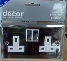 10 X Décor 13A 2Gang Switch Sockets Polished Chrome